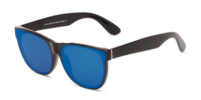 Angle of Brazen #7062 in Glossy Black Frame with Blue Mirrored Lenses, Women's and Men's Retro Square Sunglasses