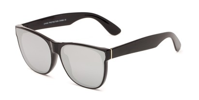 Angle of Brazen #7062 in Glossy Black Frame with Silver Mirrored Lenses, Women's and Men's Retro Square Sunglasses
