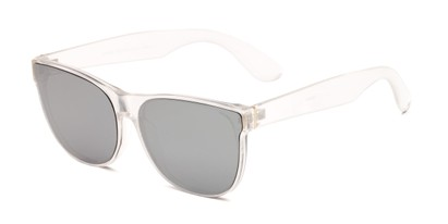 Angle of Brazen #7062 in Glossy Clear Frame with Silver Mirrored Lenses, Women's and Men's Retro Square Sunglasses