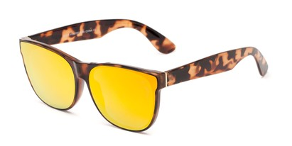Angle of Brazen #7062 in Glossy Tortoise Frame with Orange Mirrored Lenses, Women's and Men's Retro Square Sunglasses
