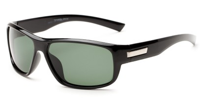 Angle of Bardwell #7070 in Black Frame with Green Lenses, Men's Square Sunglasses