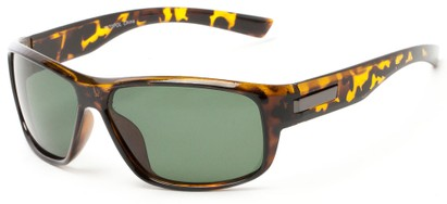 Angle of Bardwell #7070 in Tortoise Frame with Green Lenses, Men's Square Sunglasses