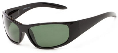 Angle of Kingston #7075 in Black Frame with Green Lenses, Women's and Men's Sport & Wrap-Around Sunglasses