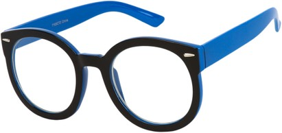Angle of Marshall #2526 in Black/Blue Frame with Clear Lenses, Women's and Men's