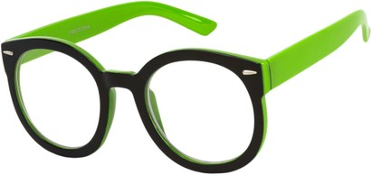 Angle of Marshall #2526 in Black/Green Frame with Clear Lenses, Women's and Men's