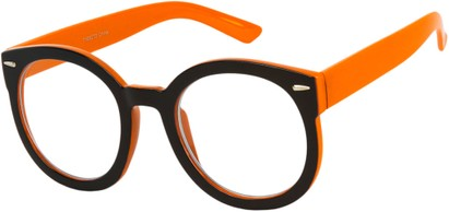 Angle of Marshall #2526 in Black/Orange Frame with Clear Lenses, Women's and Men's