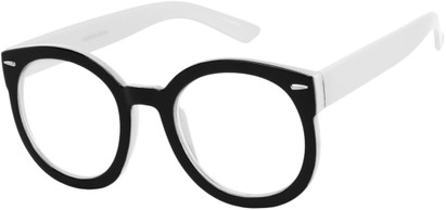 Angle of Marshall #2526 in Black/White Frame with Clear Lenses, Women's and Men's