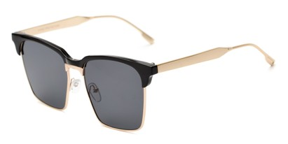 Angle of Humbolt #7105 in Black/Gold Frame with Grey Lenses, Women's and Men's Square Sunglasses