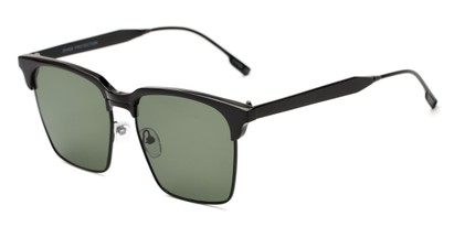 Angle of Humbolt #7105 in Black Frame with Green Lenses, Women's and Men's Square Sunglasses
