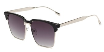 Angle of Humbolt #7105 in Black/Silver Frame with Smoke Lenses, Women's and Men's Square Sunglasses