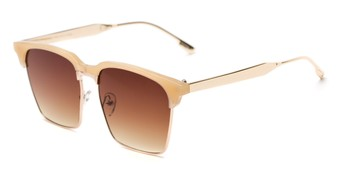 Angle of Humbolt #7105 in Tan/Gold Frame with Amber Lenses, Women's and Men's Square Sunglasses