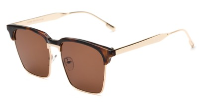 Angle of Humbolt #7105 in Tortoise/Gold Frame with Amber Lenses, Women's and Men's Square Sunglasses