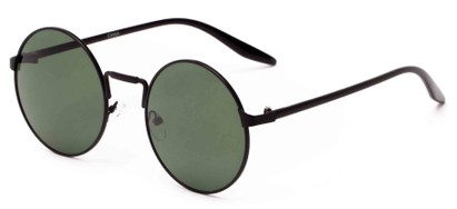 Angle of Haze #7117 in Matte Black Frame with Green Lenses, Women's and Men's Round Sunglasses