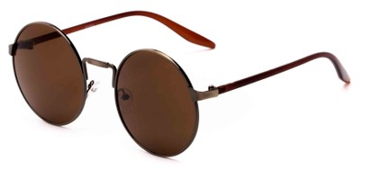 Angle of Haze #7117 in Brass/Brown Frame with Amber Lenses, Women's and Men's Round Sunglasses