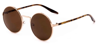 Angle of Haze #7117 in Gold/Brown Tortoise Frame with Amber Lenses, Women's and Men's Round Sunglasses