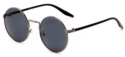 Angle of Haze #7117 in Silver/Black Frame with Smoke Lenses, Women's and Men's Round Sunglasses