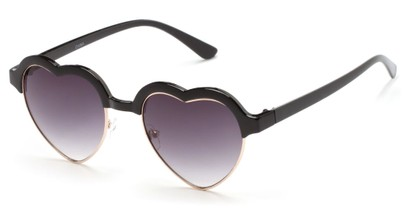 Angle of SW Retro Heart Style #7119 in Black Frame with Smoke Lenses, Women's and Men's