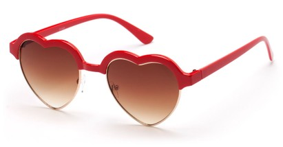 Angle of SW Retro Heart Style #7119 in Red Frame with Amber Lenses, Women's and Men's