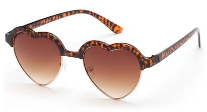 Angle of SW Retro Heart Style #7119 in Tortoise Frame with Amber Lenses, Women's and Men's