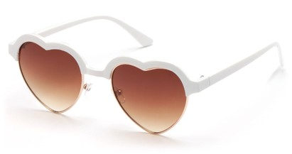 Angle of SW Retro Heart Style #7119 in White Frame with Amber Lenses, Women's and Men's