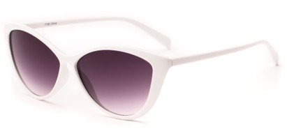 Angle of Graceland #7126 in White Frame with Smoke Lenses, Women's Cat Eye Sunglasses