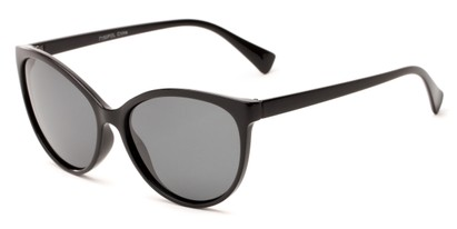 Angle of Crissy #7150 in Black Frame with Grey Lenses, Women's Cat Eye Sunglasses