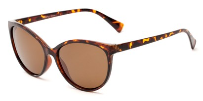 Angle of Crissy #7150 in Tortoise Frame with Amber Lenses, Women's Cat Eye Sunglasses