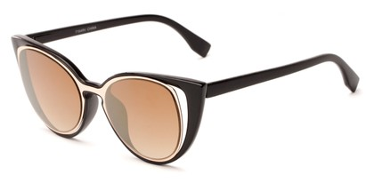Angle of Westwood #7164 in Black/Gold Frame with Gold Mirrored Lenses, Women's Cat Eye Sunglasses