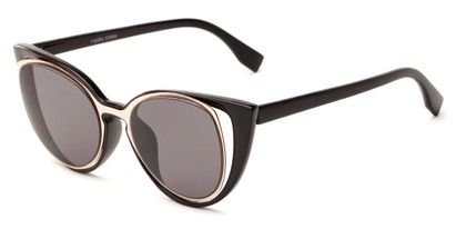 Angle of Westwood #7164 in Black/Gold Frame with Grey Lenses, Women's Cat Eye Sunglasses