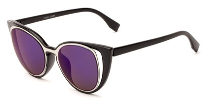 Angle of Westwood #7164 in Black/Silver Frame with Blue/Purple Mirrored Lenses, Women's Cat Eye Sunglasses