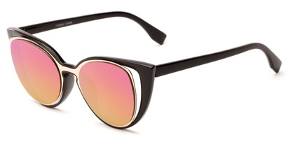 Angle of Westwood #7164 in Black/Gold Frame with Pink/Yellow Mirrored Lenses, Women's Cat Eye Sunglasses