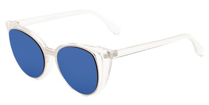 Angle of Westwood #7164 in Clear/Silver Frame with Blue Mirrored Lenses, Women's Cat Eye Sunglasses