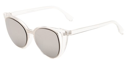 Angle of Westwood #7164 in Clear/Silver Frame with Silver Mirrored Lenses, Women's Cat Eye Sunglasses