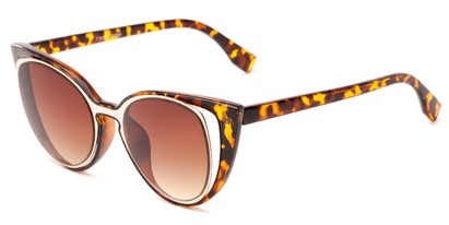 Angle of Westwood #7164 in Tortoise/Gold Frame with Amber Lenses, Women's Cat Eye Sunglasses