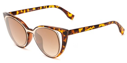 Angle of Westwood #7164 in Tortoise/Gold Frame with Gold Mirrored Lenses, Women's Cat Eye Sunglasses