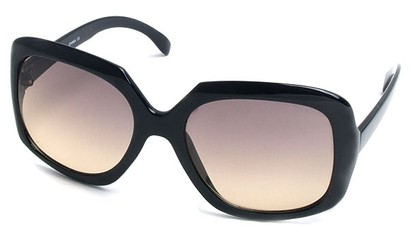 Angle of SW Plastic Fashion Style #495 in Black Frame with Amber Lenses, Women's and Men's
