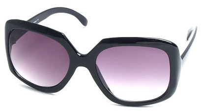 Angle of SW Plastic Fashion Style #495 in Black Frame with Smoke Lenses, Women's and Men's