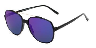 Angle of Rhodes #7265 in Black Frame with Blue Mirrored Lenses, Women's and Men's Aviator Sunglasses
