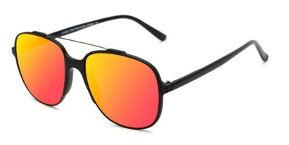 Angle of Rhodes #7265 in Black Frame with Red/Yellow Mirrored Lenses, Women's and Men's Aviator Sunglasses
