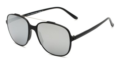 Angle of Rhodes #7265 in Black Frame with Silver Mirrored Lenses, Women's and Men's Aviator Sunglasses