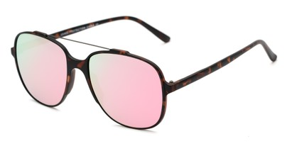 Angle of Rhodes #7265 in Tortoise Frame with Pink Mirrored Lenses, Women's and Men's Aviator Sunglasses