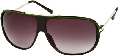 Angle of SW Oversized Aviator Style #445 in Black/Green Frame with Smoke Lenses, Women's and Men's