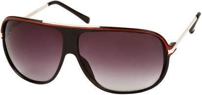 Angle of SW Oversized Aviator Style #445 in Black/Red Frame with Smoke Lenses, Women's and Men's