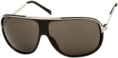 Angle of SW Oversized Aviator Style #445 in Black/White Frame with Grey Lenses, Women's and Men's