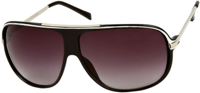 Angle of SW Oversized Aviator Style #445 in Black/White Frame with Smoke Lenses, Women's and Men's