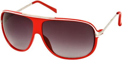 Angle of SW Oversized Aviator Style #445 in Red Frame with Smoke Lenses, Women's and Men's
