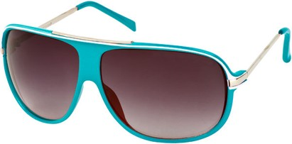 Angle of SW Oversized Aviator Style #445 in Teal Blue Frame with Smoke Lenses, Women's and Men's