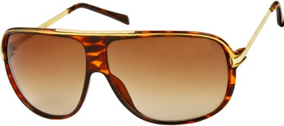 Angle of SW Oversized Aviator Style #445 in Brown Tortoise Frame with Amber Lenses, Women's and Men's