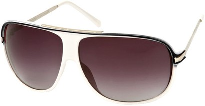 Angle of SW Oversized Aviator Style #445 in White/Black Frame with Smoke Lenses, Women's and Men's