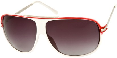 Angle of SW Oversized Aviator Style #445 in White/Red Frame with Smoke Lenses, Women's and Men's